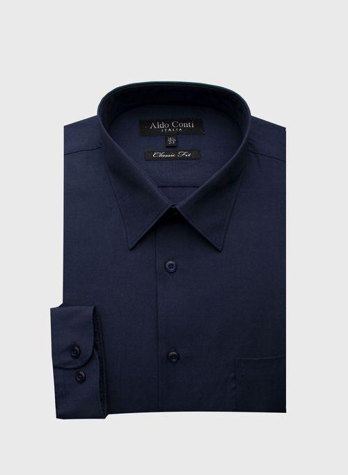 Camisa  Vestir Color Marino Marca Aldo Conti Black