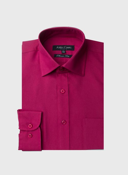 Camisa  Vestir Color VinoMarca Aldo Conti Black