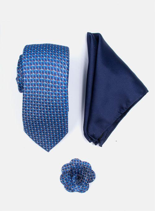 Set Corbata Color Azul Argento