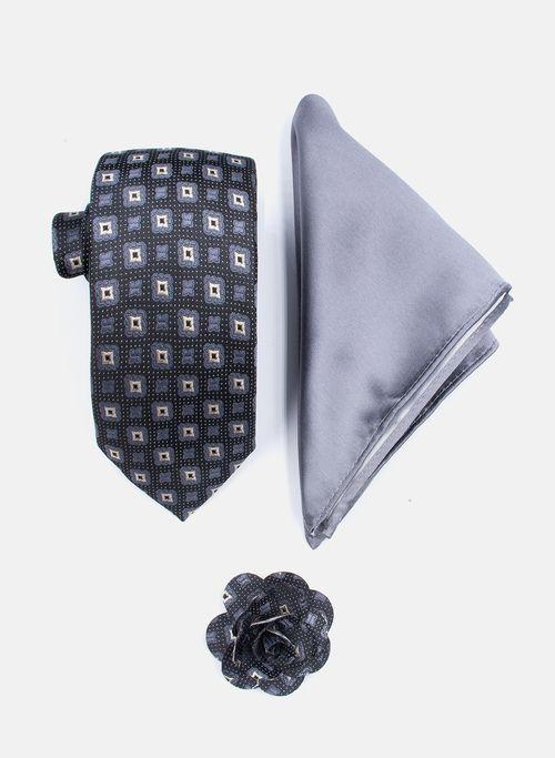 Set Corbata Color Negro Argento