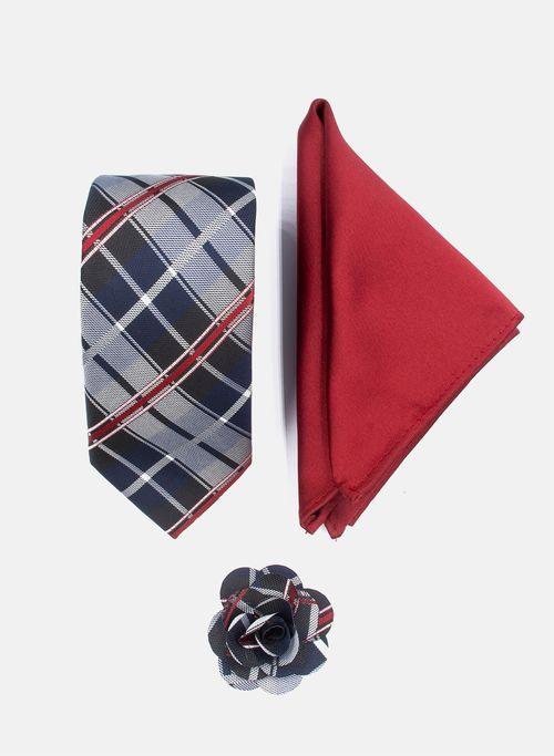 Set Corbata Color Marino Argento