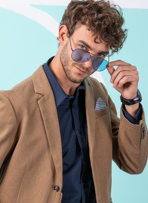 Saco  Vestir Color Beige Marca Vermonti. Composición:  98% ALGODON 2% ELASTANO