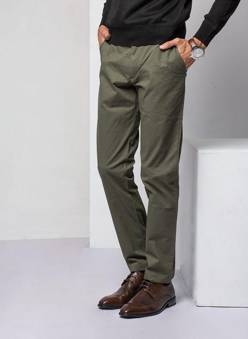 Pantalon  Casual Color Olivo Marca Vermonti. Composición: