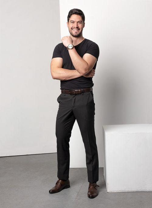 Pantalon  Vestir Color Negro Marca Aldo Conti Black. Composición:  72%POLIESTER 28%VISCOSA