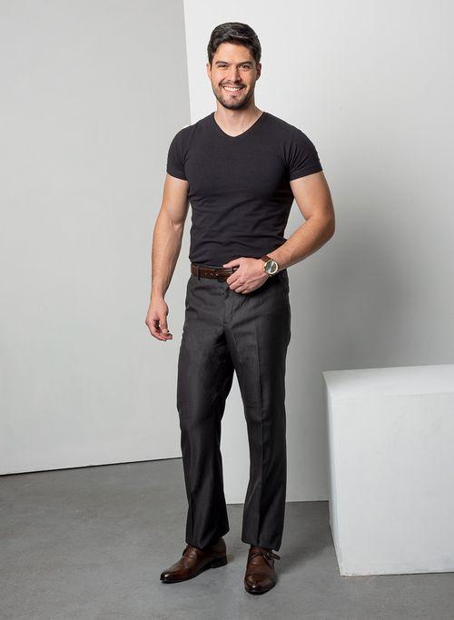 Pantalon  Vestir Color Gris Marca Aldo Conti Black. Composición:  70%POLIESTER 30%VISCOSA