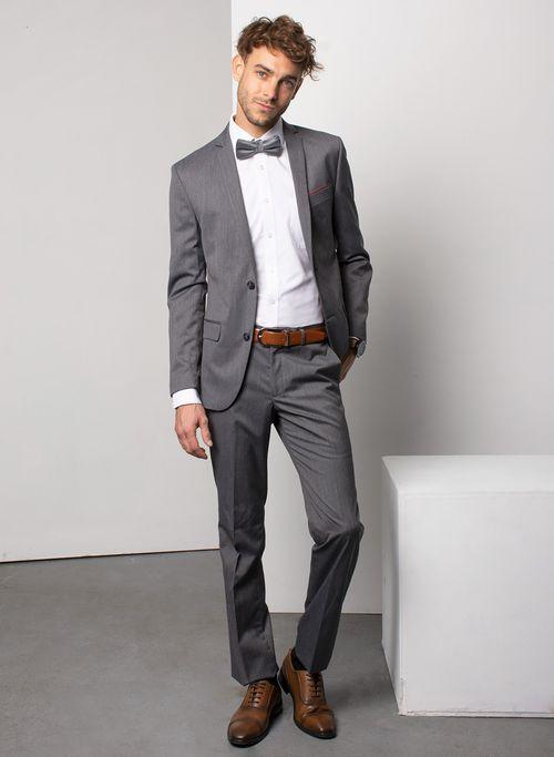Traje  Vestir Color Gris Marca Aldo Conti Black. Composición:  84% POL 14% VIS 2% ELAS