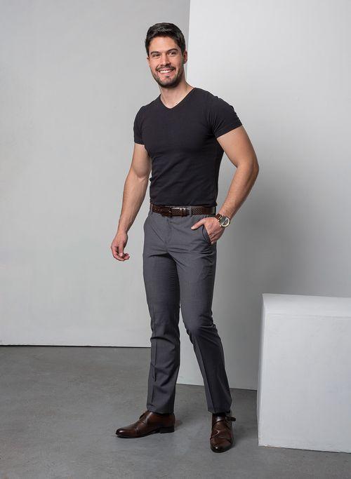 Pantalon  Vestir Color Oxford Marca Aldo Conti Black. Composición:  71.6%POL 24.9%VIS 3.5 %ELAS