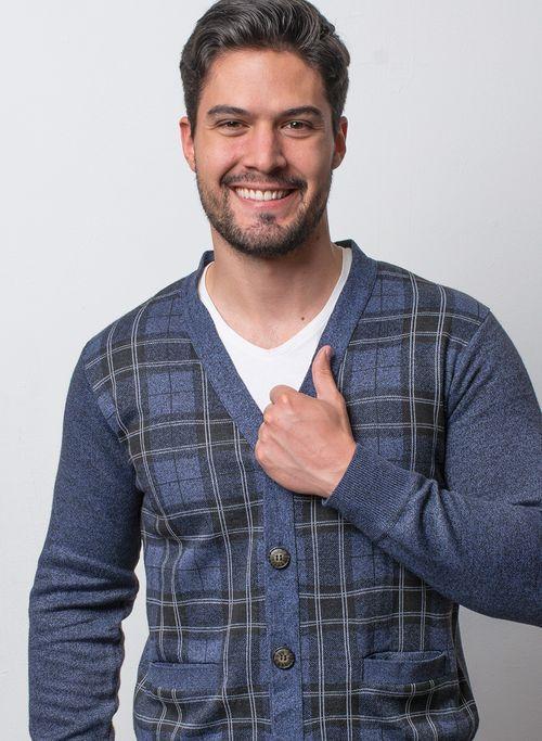 Suéter, Azul, Classic Fit, Marca Vasanti.