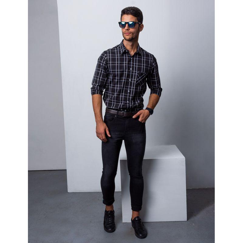 Camisa-Casual-Color-Negro-Marca-Vermonti.-Composicion--100-ALGODON